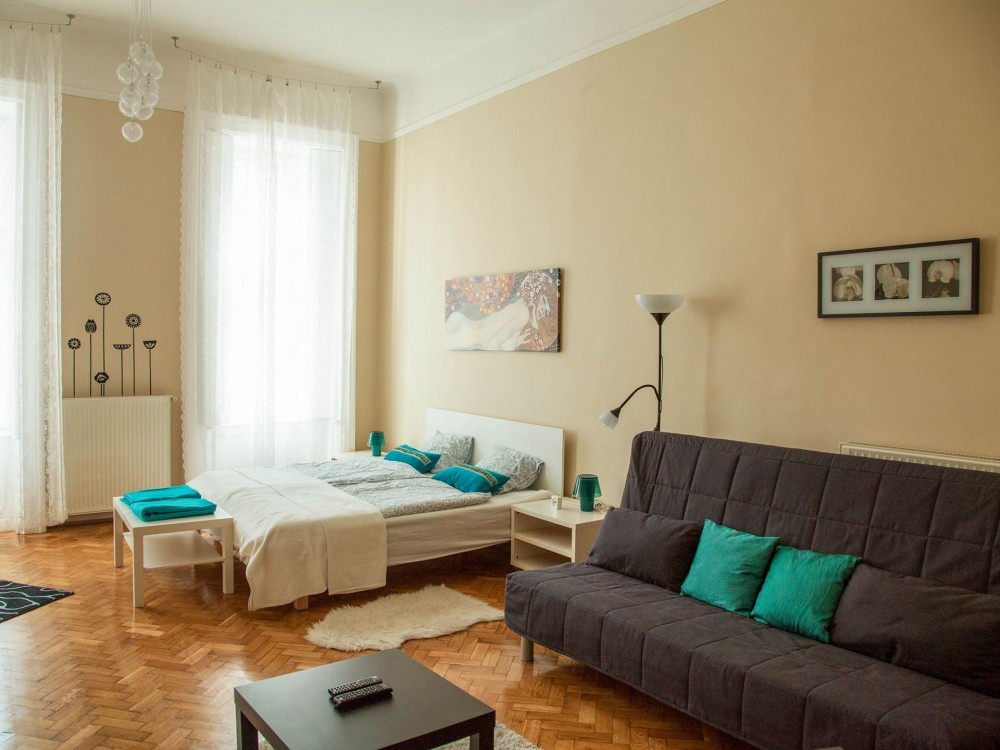 Large studio apartments Small Living Room Vámház Street 14 Mentha Apartments Mentha Apartments Large Studio Apartment In Budapest Mentha Apartments